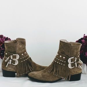 Total Fringe Buckle Ankle Booties